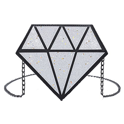 Chain Small Cross Bags Laser Women OYIGE size Shoulder bags with for Sequins Silver Body x8q8wHT7