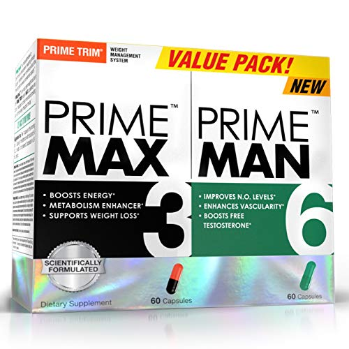 Complete Nutrition Prime Man Value Pack, Dietary Supplement for Men, Testosterone Support, Increases Nitric Oxide, Mood Support, Prime Man 60ct Capsules + Prime Max 60ct Capsules