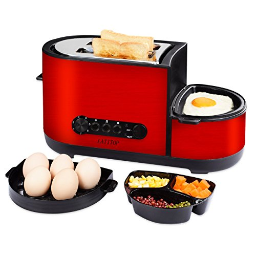 LATITOP 2-Slice Wide Slot Toaster with Egg Cooker, Fry Egg, Poach Egg, Steam Egg, Defrost/Reheat/Cancel Function, Removable Crumb Tray, Shade Setting, Stainless Steel Housing, Cool Touch, 1050W, Red (Eggs Steal)