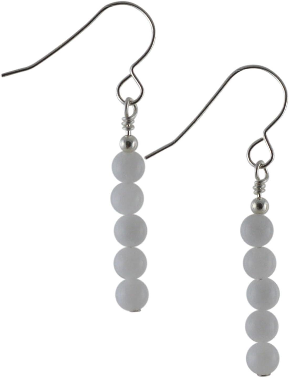 Pendientes de gota de plata de ley con piedra de cuarzo blanco y caja de regalo