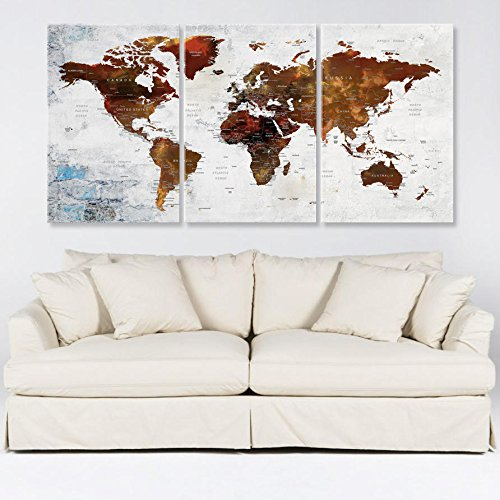 Amazon world map with countries wall art for living room decor world map with countries wall art for living room decor canvas print travel world map wall gumiabroncs Image collections