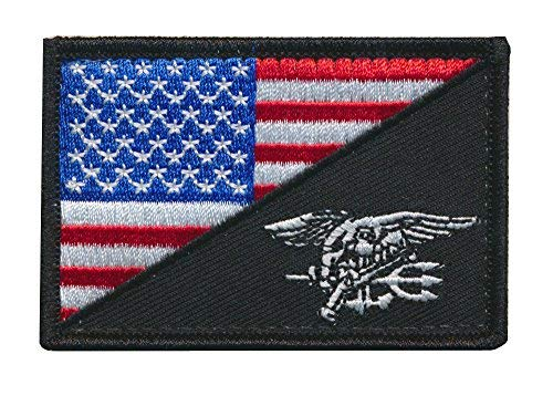 - Tactical USA Flag / Navy SEALs Team Navy Trident Embroidered Patch (Red/White/Blue)
