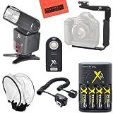 SB1010 Pro Series Digital SLR Auto-Focus/Auto Power Zoom TTL Flash w/LCD Display PRO Kit For Nikon DF, D90, D3000, D3100, D3200, D3300, D5000, D5100, D5200, D5300, D5500, D7000, D7100, D7200, D300, D300s, D600, D610, D700, D750, D800, D800e, D810, D810A Digital SLR Camera