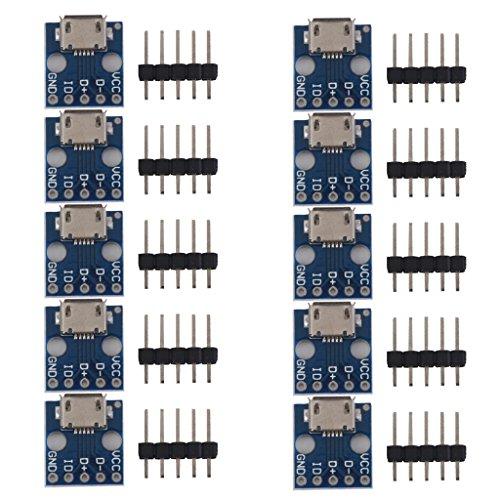 MagiDeal 10pcs Female MICRO USB to DIP 5-Pin Pinboard 2.54mm micro USB type