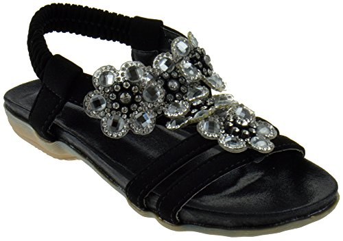 Crab 1718KM Little Girls Gladiator Floral Rhinestone Comfort Flat Sandals Black 13 ()