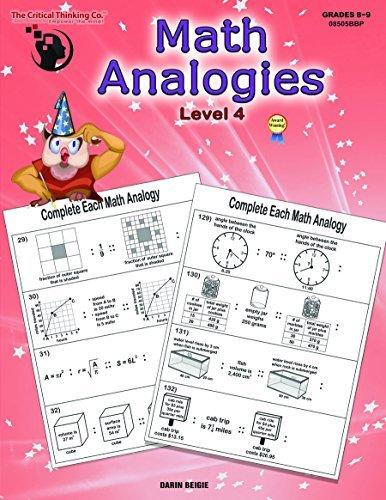 Math Analogies Level 4 - Analogical and Mathematical Reasoning Puzzles Using Standards-Based Analogies (Grades 8-9) (Analogies Game)