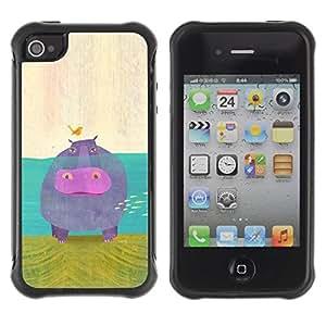 "Pulsar iFace Series Tpu silicona Carcasa Funda Case para Apple iPhone 4 / iPhone 4S , Arte animal de la historieta del pájaro Hippo Water River"""