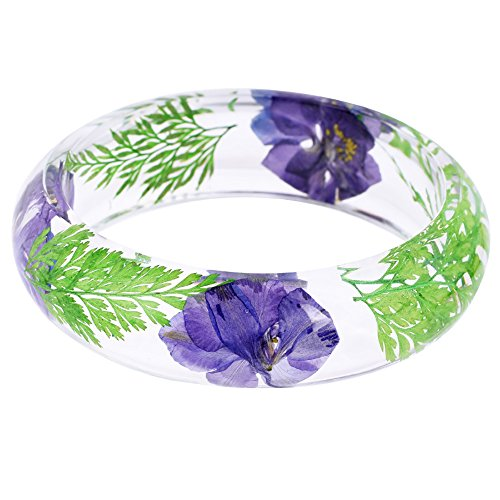 New Arrival Handmade Blue Color Gaura Lindheimeri Pressed Flower Transparent Resin Womens/Girl's Charm Bracelet-Size Option (62mm) (Resin Bracelets Transparent)
