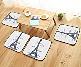 Leighhome Fillet Chair Cushion Decor Collection Illustration of Eiffel Tower in Paris Modern French City Skyline Minimali Suitable for The Chair W13.5 x L13.5/4PCS Set