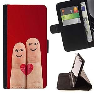 For Sony Xperia Z3 Compact / Z3 Mini (Not Z3) Case , Dedos divertidos Amor lindo del corazón- la tarjeta de Crédito Slots PU Funda de cuero Monedero caso cubierta de piel