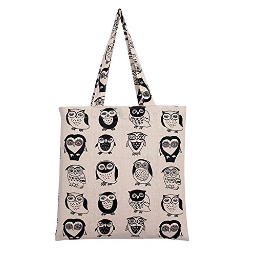 Caixia Women's Cotton Colorful Owl Print Canvas Tote Shopping Bag ()