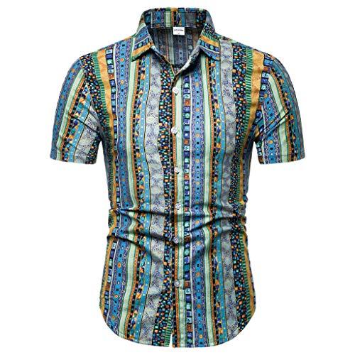 - Sunhusing Men's Boho Geometric Pattern Print Short Sleeve T-Shirt Casual Lapel Office Work Shirt Tops Blue