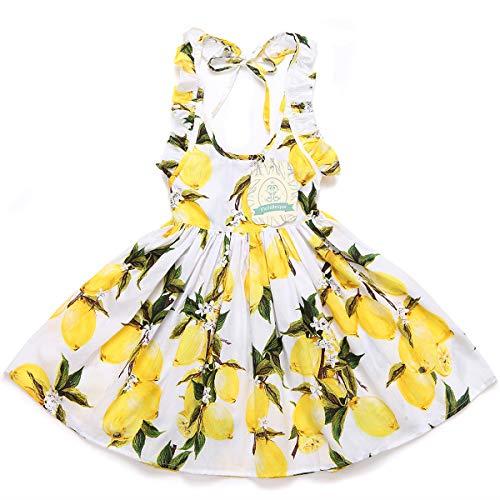 Flofallzique Toddler Girls Dress Lemon Yellow Vintage Baby Birthday Sundress for 1-8 Years Old(4)