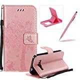 Strap Leather Case for Samsung Galaxy Core Prime SM-G360,Bookstyle Magnetic [Rose Gold Solid Color] Stand Flip Case for Samsung Galaxy Core Prime SM-G360,Herzzer Premium Elegant Butterfly Tree Cat Print Fold Wallet Folio Smart Case For Samsung Galaxy Core Prime SM-G360 + 1 x Pink Cellphone Kickstand + 1 x Pink Stylus Pen