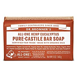 Dr. Bronner's - Pure-Castile Bar Soap (Eucalyptus, 5 ounce, 6-Pack) - Made with Organic Oils, For Face, Body and Hair, Gentle and Moisturizing, Biodegradable, Vegan, Cruelty-free, Non-GMO 44 EUCALYPTUS. Earthy and warm, with a powerful menthol burst to open breathways and focus the mind! Scented purely with organic eucalyptus oil, our Eucalyptus Pure-Castile Bar Soap is made with certified fair trade ingredients and organic hemp oil for a soft, smooth lather that won't dry your skin. GENTLE SOAP. This moisturizing bar soap offers organic and vegan ingredients for a rich, emollient lather. It is ideal for washing your body or face. With no synthetic detergents or preservatives, you can nourish your skin with every wash. MULTI-USE. This multi-use bar soap can be used on its own as a traditional body or face scrub, or you can dilute it in various recipes for anything from a pest spray to laundry wash. This gentle, yet powerful soap is the ultimate multi-use cleaner.