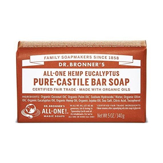 Dr. Bronner's - Pure-Castile Bar Soap (Eucalyptus, 5 ounce, 6-Pack) - Made with Organic Oils, For Face, Body and Hair, Gentle and Moisturizing, Biodegradable, Vegan, Cruelty-free, Non-GMO 1 MOISTURIZING LATHER THAT WON'T DRY YOUR FACE, BODY, OR HAIR: Our bar soaps produce a rich lather that won't dry out your skin! Dr. Bronner's is made with only the purest certified organic oils and will leave your skin feeling soft and smooth. MADE WITH ORGANIC OILS THAT ARE GENTLE and EFFECTIVE: We don't add any chelating agents, dyes, whiteners, or synthetic fragrances—only all-natural, vegan ingredients that are gentle, effective, and mild. Use on your face, body, or hair! NO SYNTHETIC PRESERVATIVES, DETERGENTS, OR FOAMING AGENTS: Our Pure-Castile Bar Soap is made with plant-based ingredients you can pronounce—no synthetic preservatives, thickeners, or foaming agents—good for the environment and great for your skin!
