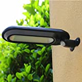 Highpot Motion Sensor Solar Lights Waterproof Solar Powered Wall Mount LED Light Outdoor Garden Patio Path Lamp (Black)