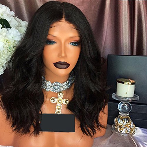 RHAH Hair Middle Part Glueless Wavy Full Lace BOB Wig Natural Black  Brazilian Human Hair Wigs 93188c5c92c8