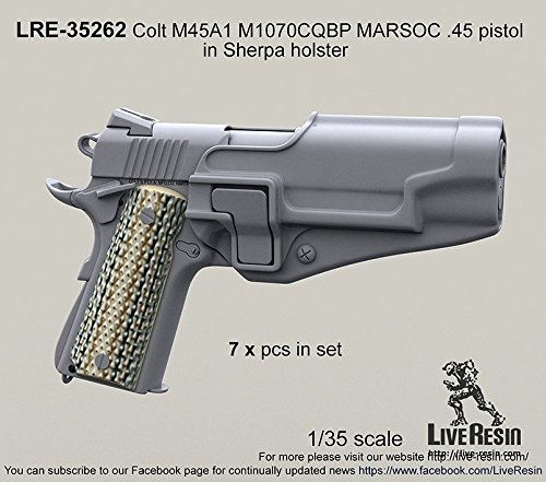 Live Resin 1:35 Colt M45A1 M1070 CQBP MARSOC Pistol in Sherpa Holster - Resin 35