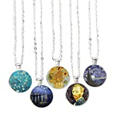 Bling Bling Oil Painting Style Pendant Necklace Glass Cabochon Pendant Inspired Necklace for Gifts 5pcs (Oil Painting 6)