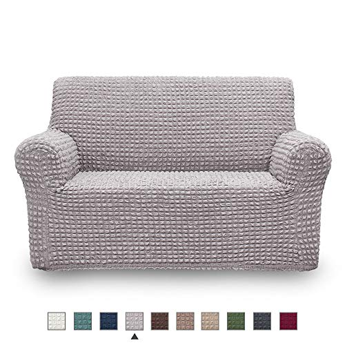 NICEEC Loveseat Slipcover Grey Loveseat Full Cover 1 Piece Easy Fitted Sofa Couch Cover Universal High Stretch Durable Furniture Protector Love Seat Country Style (2 Seater Gray) (Loveseats Style Country)