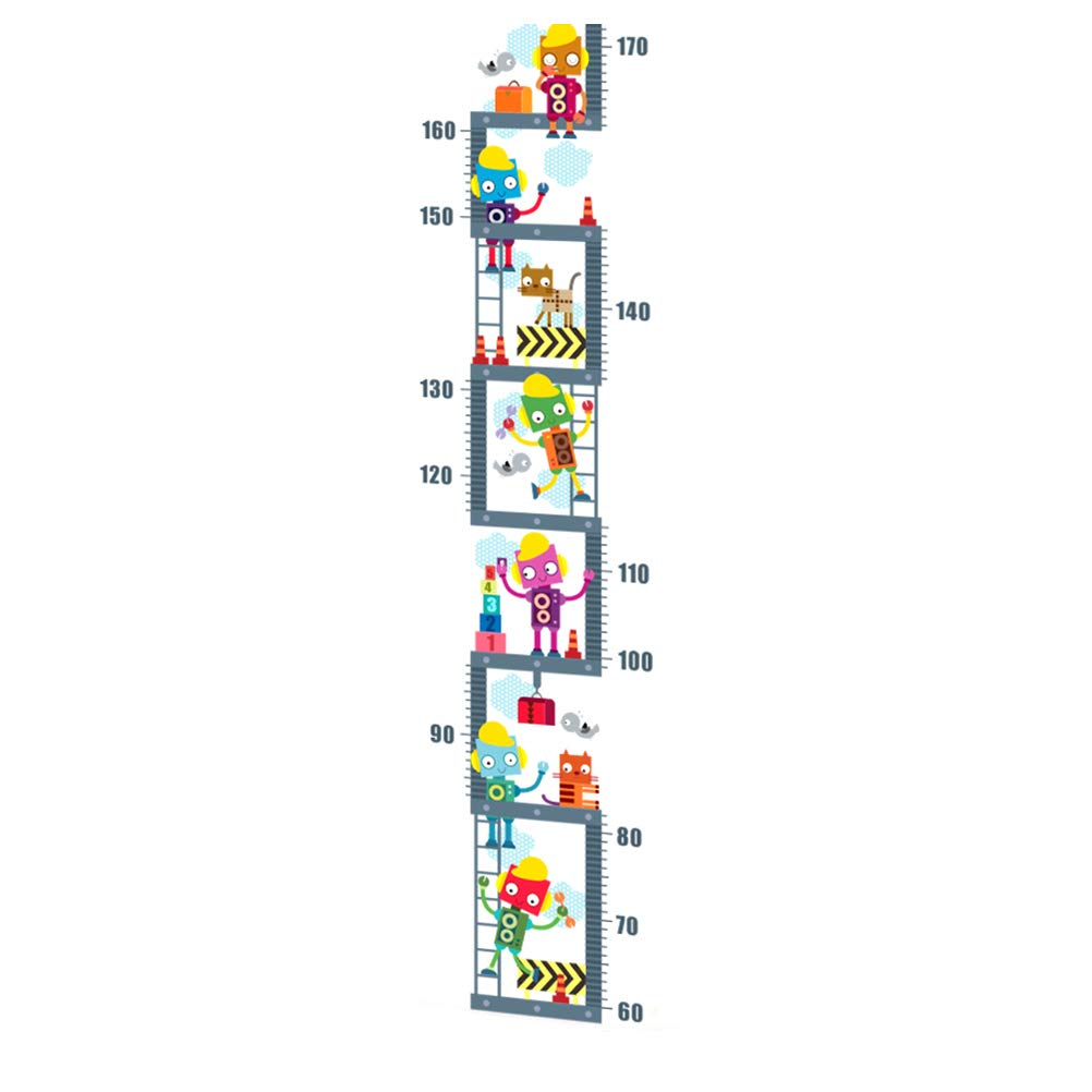 VORCOOL Removable DIY PVC Cartoon Robot Climb The Stairs Kids Height Measure Ruler Nursery Growth Chart Wall Stickers Murals Home Walls Decor Art for Bedroom Living Room