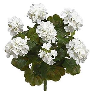 "SilksAreForever 19"" Outdoor Water Resistant Artificial Geranium Flower Bush -White (Pack of 6) 71"