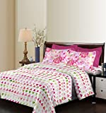 Bombay Dyeing Breeze 120 TC Cotton Double Bedsheet with 2 Pillow Covers - Abstract, Pink