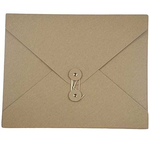 (JAM PAPER Kraft Button and String Tie Portfolios - Medium Extra Wide - 9 1/2 x 12 x 1/4 - Natural - Sold individually)