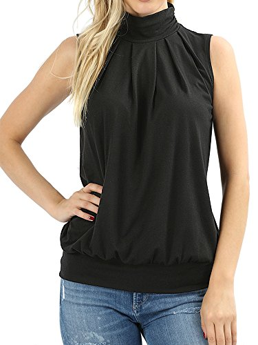 The Lovely Black Women Sleeveless Mock-Turtleneck Pleated Top with Waistband in L