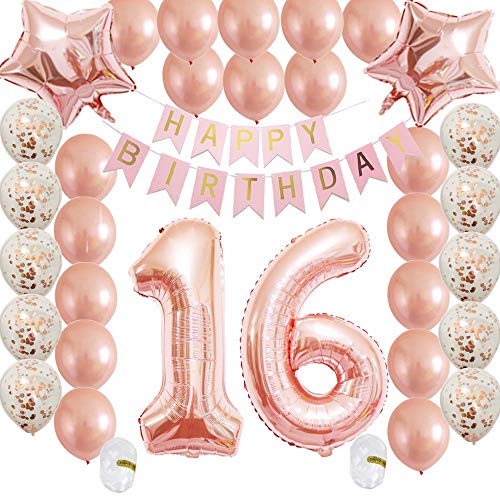 Cheeringup Sweet16th Birthday Decorations Party Supplies Set-Rose Gold Confetti Latex Balloons-Happy 16th Banner as Gift for Her Girls,Women,Men Table Decorations Favors,Photo Props|Mylar Star ()