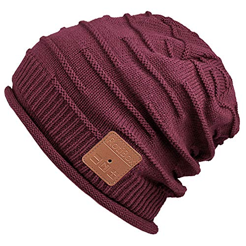 Mydeal Wireless Bluetooth Beanie Hat Headphones Headsets Music Audio Cap with Speakers Mic Hands Free for Women Men Outdoor Sports,Compatible with Iphone 7/7 plus,Samsung,Christmas Gifts - Burgundy