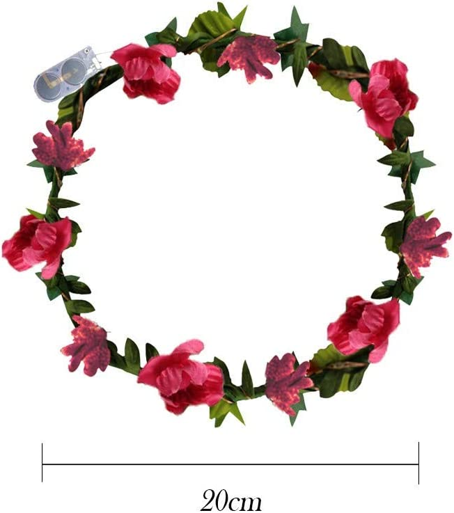 LEEDY Decorated Pre-Lit Wreath Christmas Decoration Artificial LED Flowers Wreath Headband Crowns Flower England Boho for Festival Wedding