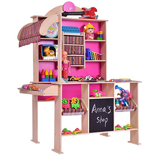 Costzon Wooden Grocery Store, Supermarket Pretend Play Set for Kids -