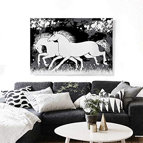 BlountDecor Modern Modern Canvas Painting Wall Art Antique Roman Time Gladiator Two Race Horses with Paint Marks Image Print Art Stickers 24