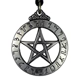 Large Theban Alphabet Pentacle Jewelry Hermetic Pentagram Pagan Wiccan Enochian Pendant