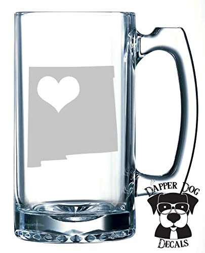 New Mexico Pride I Heart My State Art Personalized Custom Hand Etched Mug 25 oz Beer Stein Glass Cup Great Gift