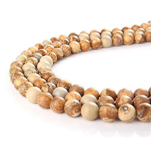 wanjin Natural Brown Picture Jasper Gemstone Round Loose Beads For Jewelry Making Findings /Accessories 1 Strand 15.5 inches -4mm