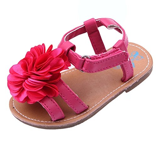 Beeliss Baby Girls Sandals Anti-Slip Rubber Sole Summer Flowers Shoes (0-6 Months, Red)
