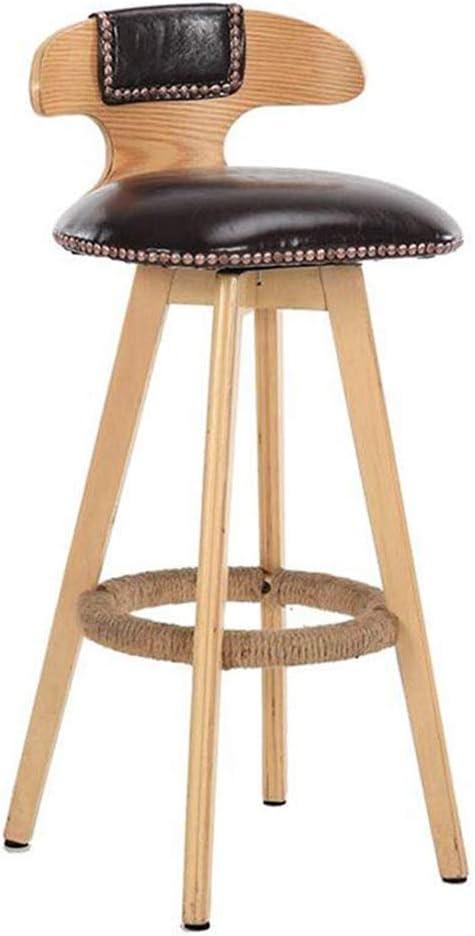 純木バースツールレトロ回転バーチェアキッチンハイスツールバーフロントデスクチェア,Brown,Woodcolor