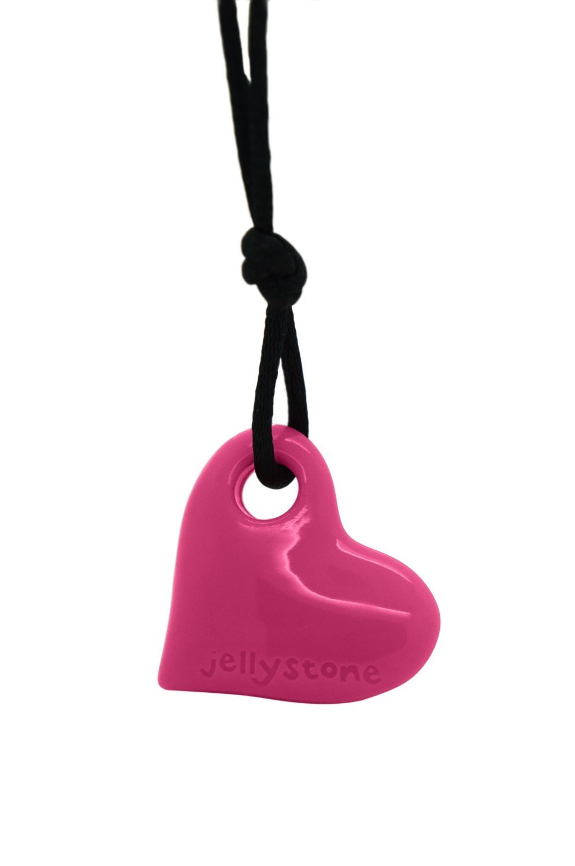Jellystone Junior Heart Pendant Silicone Non-Toxic Chewelry Necklace (Watermelon Pink)