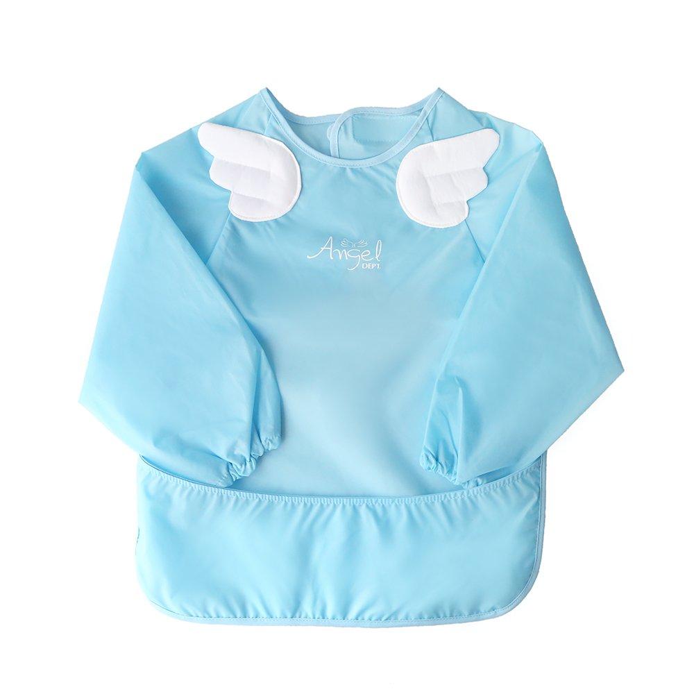 Angel DEPT Baby Toddler Long Sleeve Feeding Apron (M, Blue)