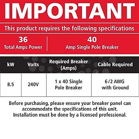 atmor AT-900 - 08 - Calentador eléctrico instantáneo calentador de agua, 8,5 kW/240 V: Amazon.es: Bricolaje y herramientas