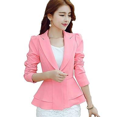 Huixin - Chaqueta de Traje - para Mujer Rojo Rosa M: Amazon.es ...