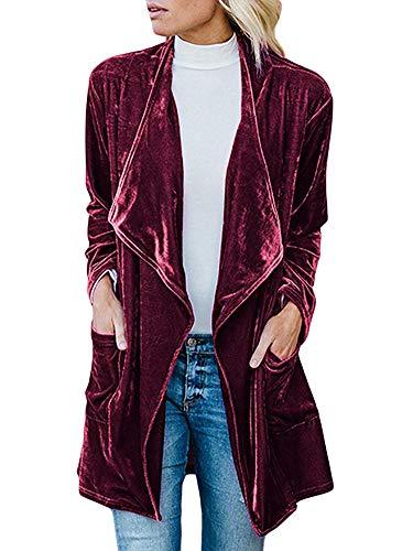 Women's Drape Open Front Long Sleeve Velvet Blazers Coat Casual Jackets Wine Red M -