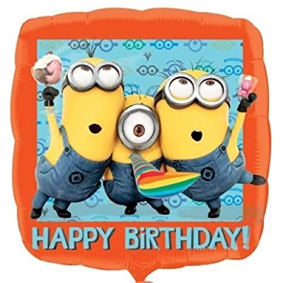 "Ballon à hélium ""Happy Birthday"" design Minions de Moi, Moche Et Méchant - 45cm"