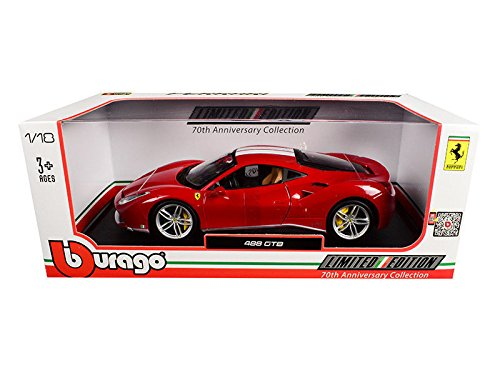 New 1:18 BBURAGO LIMITED EDITION COLLECTION - Red with White Stripes Ferrari 488 GTB 70th Anniversary The Schumacher Diecast Model Car By - White Ferrari Collection