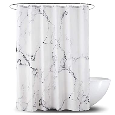 Yostev Marble Bathroom Shower Curtain,Grey and White Fabric Shower Curtain with Hooks,Unique 3D Printing,Decorative Bathroom Accessories,Water Proof,Reinforced Metal Grommets 72x72 Inches