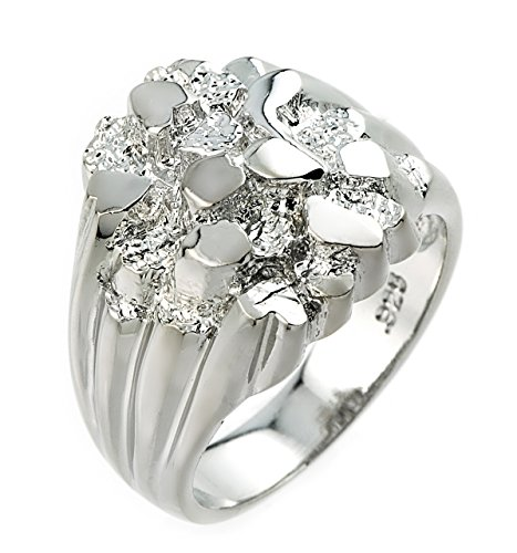 Polished 925 Sterling Silver Nugget Ring for Men (Size 15)