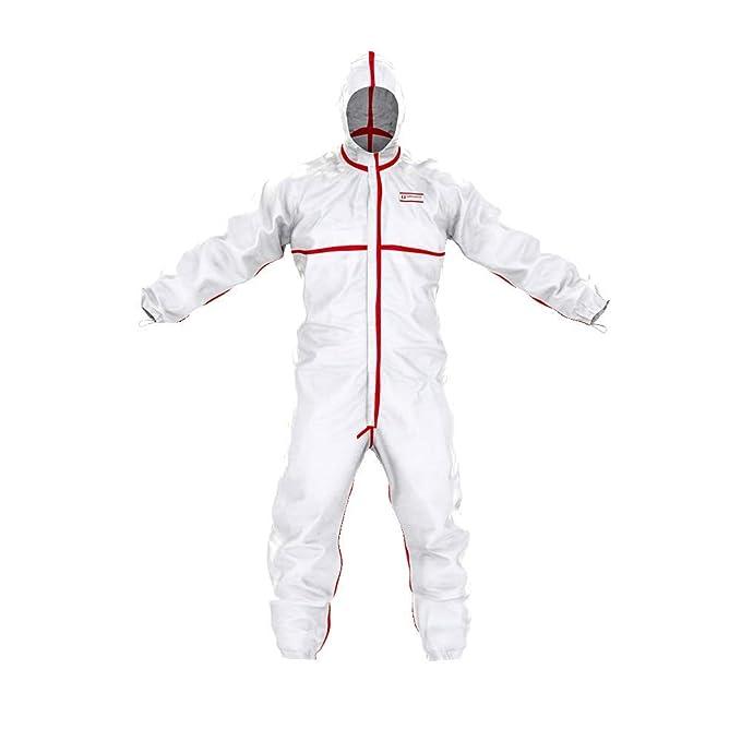 Traje de protección química SafeComfort Modelo T | PPE Cat. III Tipo 4/5/6, con Capucha, Costuras pegadas, Cremallera de Dos vías, hermético a Las ...